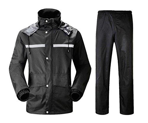 Insun Erwachsenen Wasserdichten Anzug mit Reflexstreifen Regenjacke mit Kapuze und Regenhose für Damen und Herren Schwarz 2XL