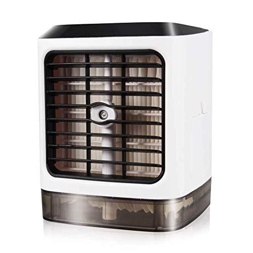 Personal del refrigerador de aire, 4 en 1 Espacio de aire acondicionado, mini USB por evaporación del ventilador del aerosol del purificador del humectador con 7 colores LED, portátil Escritorio venti