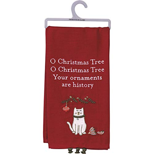 Primitives by Kathy Embroidered Kitchen Dish Towel - O Christmas Tree Your Ornaments are History, Red, 20x26