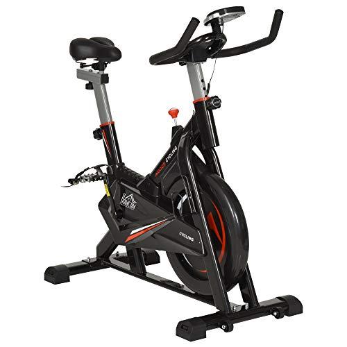 homcom Cyclette Bicicletta per Allenamento in Acciaio Nero con Monitor LCD, Seduta, Manubrio e Resistenza Regolabile Volano 10kg, 53x105x105-117cm