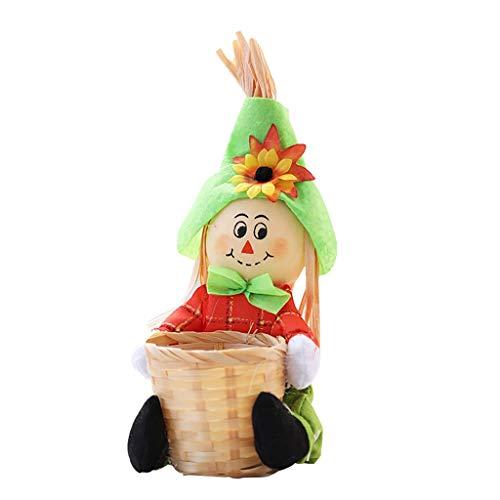 Halloween Kreativer Süßigkeitskorb, Candy Basket Gesponnener Blumen Korb Picknickkorb Puppe Obst Schüssel Handgewebt Dekoration Home Wohnzimmer Decor (C)