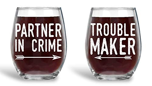 Trouble Maker Partner in Crime 15oz Couple Wine Glass Set, Wedding Engagement Gifts for Husband Wife Newlywed Bride Groom Future Mrs Anniversary Bridal Shower Housewarming Soul Mates - By AW Fashion