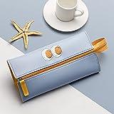 MRBJC Estuche para lápices, novedad con cremallera, organizador de escritorio para pluma estilográfica y lápiz táctil, suministros escolares y de oficina, color azul 25 x 11 cm