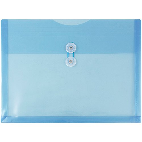 JAM PAPER Plastic Envelopes with Button & String Tie Closure - Letter Booklet - 9 3/4 x 13 - Blue - 12/Pack