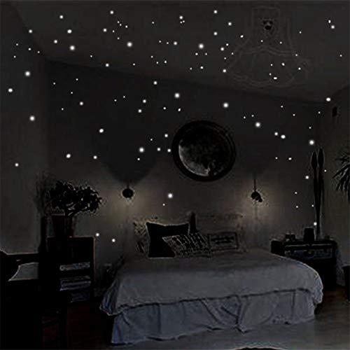 Scrox Sticker Mural Fluorescent Stickers muraux Mots Lumineux dans la Nuit Star Moon Briller dans Le Noir Papier Peint pour Chambre denfants Plafond Brillent dans Le Noir