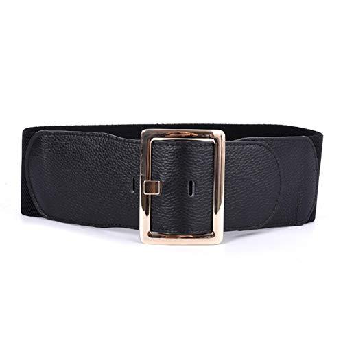 JIAGU Cinturón de cintura ancha para mujer, elástico y ancho para vestir, falda, camiseta elástica, retro, color negro, tamaño: 78 cm