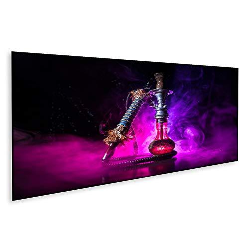 Bild auf Leinwand Hookah heiße Kohlen auf Shisha-Schale auf dunklem nebligem Hintergrund Stilvolle orientalische Shisha Bilder Wandbild Poster Leinwandbild