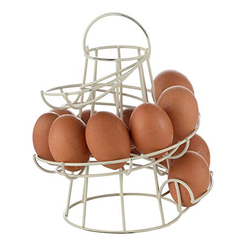 Modern Spiraling Design Metal Freestanding Egg Skelter Dispenser Rack Kitchen Storage Egg Holder Display Rack(White)