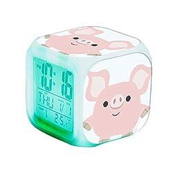 QCNZ1 Teen Alarm Clock Kids Girls Boys LED Digital Bedrooms Alarm Clock Easy Set Clocks with Pattern 263.Cute Shorty Cartoon Pig Alarm Clock Desk Bedrooms Decor