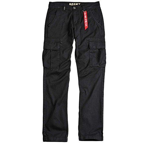 ALPHA INDUSTRIES Agent Pant Cargohose Baumwolle Flache Taschen, Farbe:Black, Groesse:38