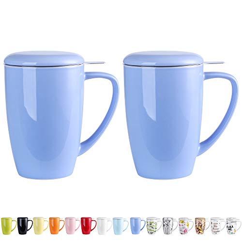 LOVECASA Tazza da tè con Infusore Acciaio Inox in Ceramica Porcellana, Filtri e Colini da tè, Filtro Infusori per tè, Set da tè caffè Mugs 2 PCS, 450ml, Blu