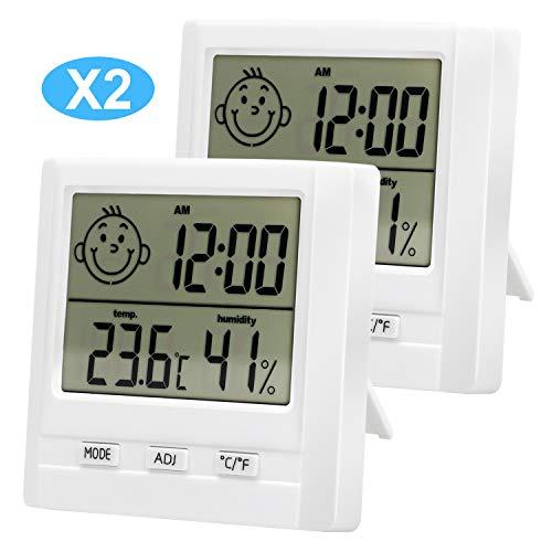 2 Pcs Termometro Ambiente Interno Termometro Igrometro Termometro Casa Termometro Digitale Parete Orologio Temperatura Umidità per Stanza Bagno Soggiorno, Stanza da Bambino, Camera da Letto