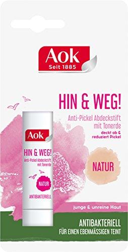 Aok Anti-Pickel Abdeckstift mit Tonerde, Natur, 3er Pack (3 x 1 Stück)