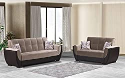 Ottomanson AIR-SB-109 Air Sand Brown Fabric Upholstery Sleeper SofaBed With Storage