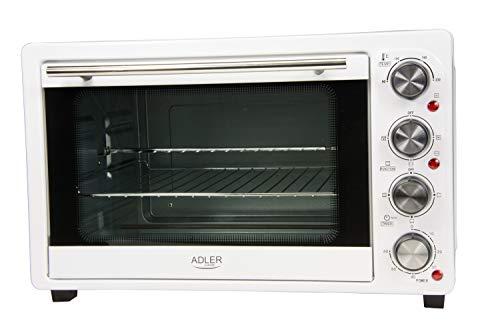 Adler AD-6001 Horno de sobremesa con convección 34 litros, 1600 W, 0 Decibeles, Acero Inoxidable, Blanco