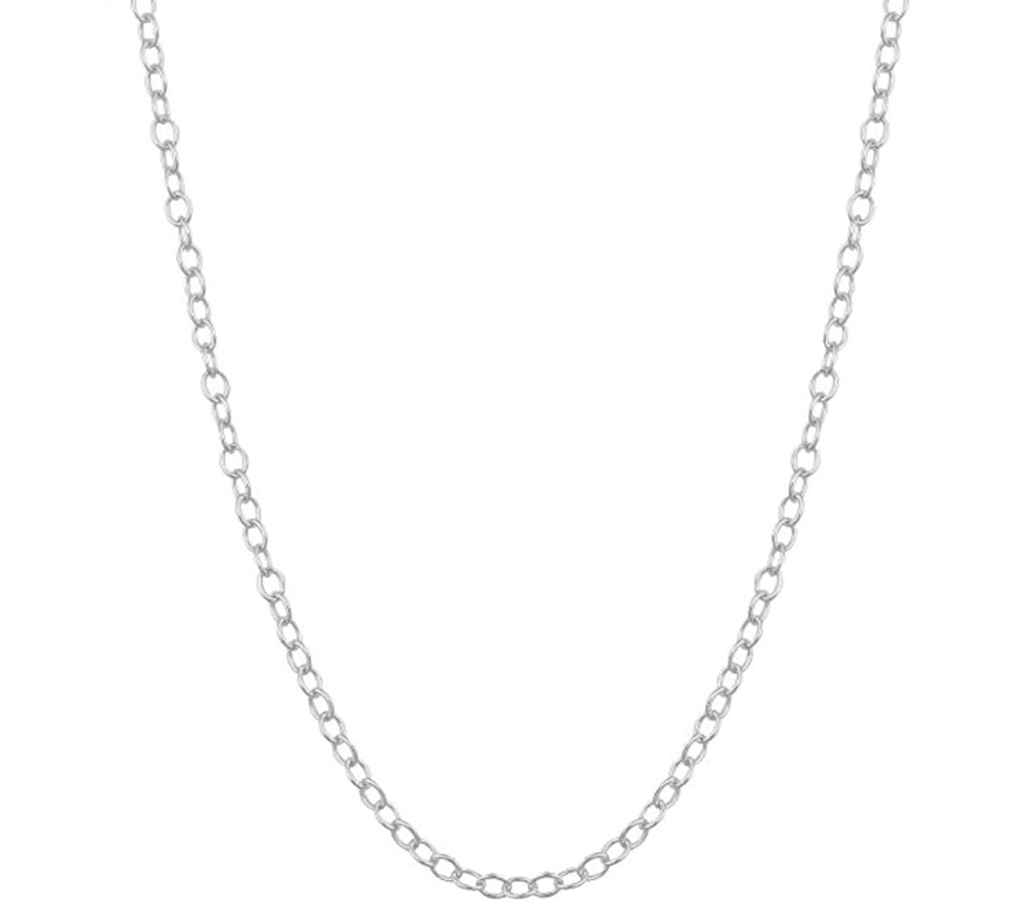 2pcs Top Quality 14 inch Sterling Silver Cable Necklace Chain w/Clasp for Jewelry Making (1.2mm width, Strong) SS159