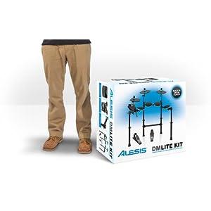 Alesis DM Lite Kit – Batteria Elettronica con Più di 200 Suoni, Bacchette, Rack Pieghevole, Pad Illuminati e Collegamento USB MIDI, per Principianti