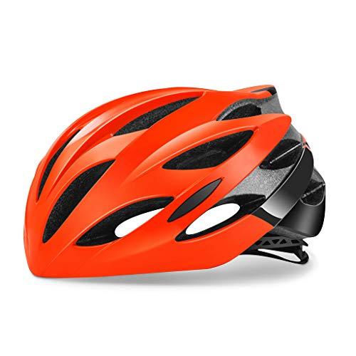 ZHOUZJ Casco Bicicleta Unisex, Ajustable 54-62cm, Especializado para Bicicleta, Ciclismo de Montaña, Motocicleta,Naranja,L