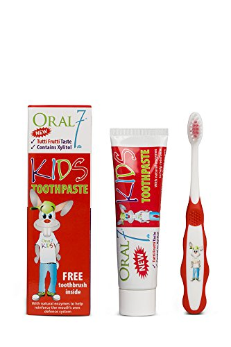 Oral7 Kids Fluoride Anticavity Toothpaste with Free-Toothbrushes