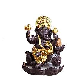 House of Crafts Hand Carve Louts Ganesh Back Flow Smoke Incense Holder Burner Fountain Statue Ganpati Decorative…