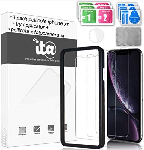 I.T.A. Pellicola Protettiva per iPhone XR e Iphone 11 [3 Pack], Pellicola Protettiva Fotocamera!!!! + Incluso Applicatore [Garantisce Allineamento Perfetto e Zero Bolle!!] Vetro Temperato