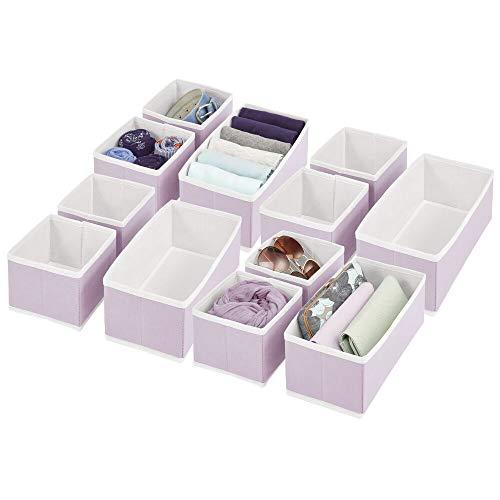 mDesign 12er-Set Kleiderschrank Organizer – Aufbewahrungskiste für die Schublade in verschiedenen Größen – Schrankbox aus Stoff zur Aufbewahrung von Socken, Unterwäsche, etc. – lila/weiß
