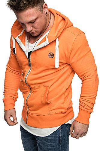 Amaci&Sons Herren Zipper Kapuzenpullover Sweatjacke Pullover Hoodie Sweatshirt 1-04029 Orange L