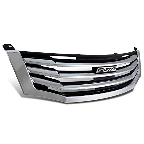EPARTS Chrome Polished MU Style ABS Front Bumper Hood Grill Grille Mugen Emblem Fit For 2008-2010 Honda Accord 4DR