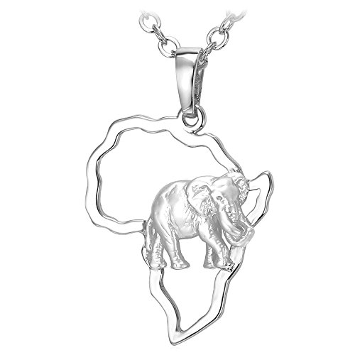U7 Damen Herren Kette Afrikanische Landkarte mit Elefant Anhänger Halskette platiniert Karte von Afrika mit 50+5cm Rolokette Modeschmuck Accessoire für Männer Frauen