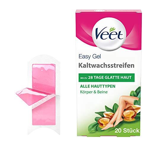 Veet Kaltwachsstreifen mit Easy-Gelwax Technology – Geeignet für alle Hauttypen – Anwendung für Beine & Körper – Bis zu 4 Wochen glatte Haut – 10 x Doppelstreifen à 20 Anwendungen