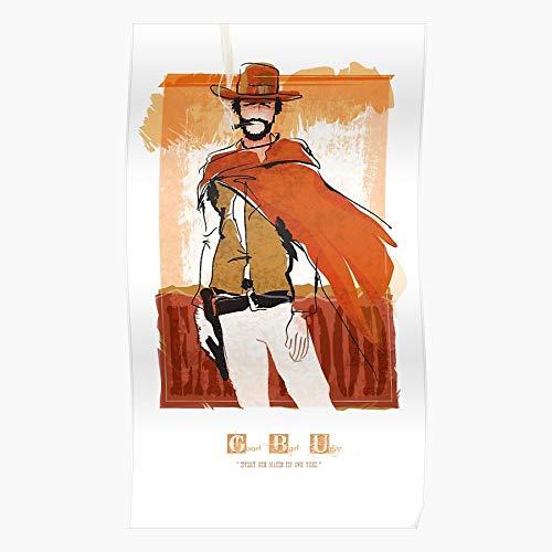 Western Clint Eastwood West Good Bad Ugly Poncho Póster de impresión de arte de pared para decoración del hogar !