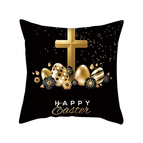 Sylar Fundas de cojín de Pascua, Fundas de Almohada de Pascua de Conejo con Huevos, Funda de Almohada de Lino y algodón para sofá o Cama