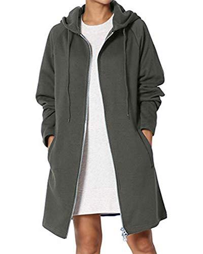 Kidsform Damen Hoodie Herbst mit Reißverschluss Zip Hoodies Lose Kapuzenjacke Lang Sweatshirt Langen Mantel A-Grau XXL
