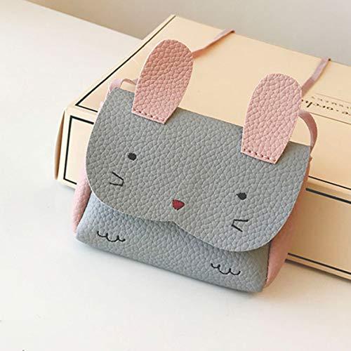 nbvmngjhjlkjlUK Kindertasche, Mini Bunny Single Shoulder Slung Shoulder Bag Rucksack Schöne Tier Cartoon Schmuck Kleine kleine Tasche für Kinder Mädchen (grau)