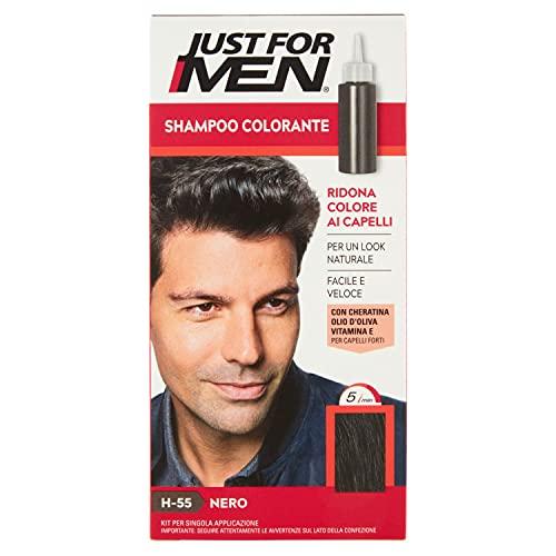 Just for Men Shampoo Colorante, H55 – Nero, Shampoo Colorante per Uomo (Nuova Formula)
