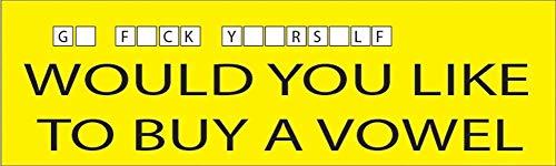10 inch x 3 inch grote grappige Auto Decal Bumper Sticker Zou je willen een Vowel Go F zelf (Vowel)