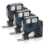 UniPlus Rhino Heat Shrink Tubes Dymo 18055 Casete de Cinta de Etiqueta Industrial 12mm x 1,5m Negro sobre Blanco para DYMO Rhino 4200, 5000, 5200, 6000, RhinoPro Impresoras, Pack de 3