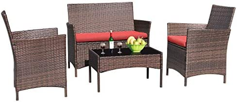 Greesum 4 Pieces Patio Outdoor Rattan Furniture Sets Wicker Chair Conversation Sets Garden Backyard product image