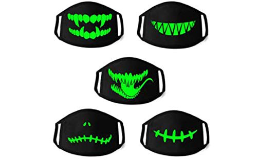 Vibrant Luminous Face Mask – Glow in The Dark, Protective Covering 5-PK, Anime/Halloween Party Costume, Reusable & Washable Black Soft Breathable Material