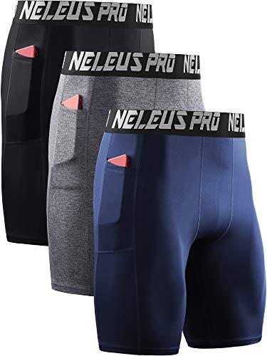 Neleus Men's 3 Pack Compression Shorts with Pockets,6063,Black/Grey/Navy Blue,US XL,EU 2XL
