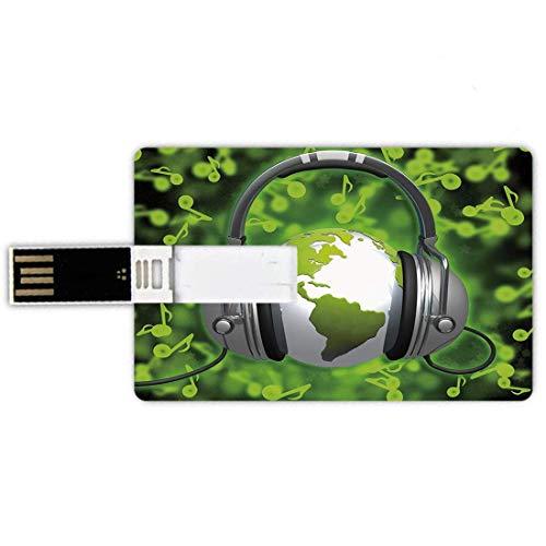 Unidades flash USB 4G Forma de tarjeta de crédito Tarjeta de memoria World Style Tarjeta de banco Estilo de composición musical del mundo Auriculares para DJ Notas musicales y globo terráqueo Decorati