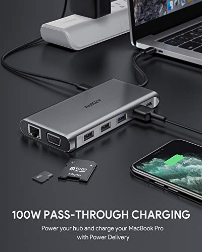 AUKEY Docking Station, 12 Ports USB C Hub Triple Display mit Ethernet,4K HDMI,VGA,2 USB 3.0,2 USB 2.0,100W PD, USB C Datenanschluss und SD/TF Kartenleser Kompatibel mit MacBook und Mehr Type C Laptops