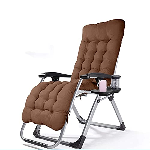 Patio Lounge Chairs Outdoor Reclining Zero Gravity Chair with Cup Holder, Extra Wide Adjustable Chair for Patio Garden Beach Pool, Support 150kg,Brown