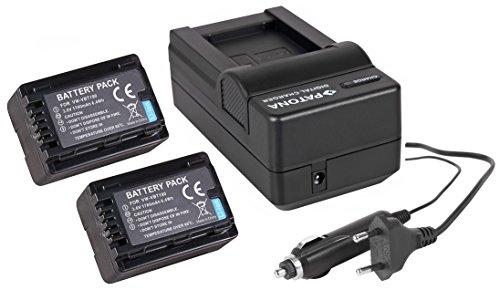4in1-SET für die Panasonic HC-V777EG und HC-V380EG Camcorder --- 2 Akkus für VBT190 (1780mAh) + Schnell-Ladegerät für Digitalkamera / Camcorder incl. KFZ-Lader (12V) inkl. PATONA Displaypad