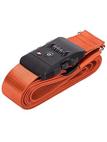 スーツケース ベルト tsaロック 3桁ダイヤル式 8カラー 十字型 スーツケースベルト ロック搭載ベルト ベルト TSA クロス 鍵付き アメリカ 旅行 海外 出張 調整可能 ネームタグ 盗難防止 Love Berry ラブベリー (フリーサイズ, オレ