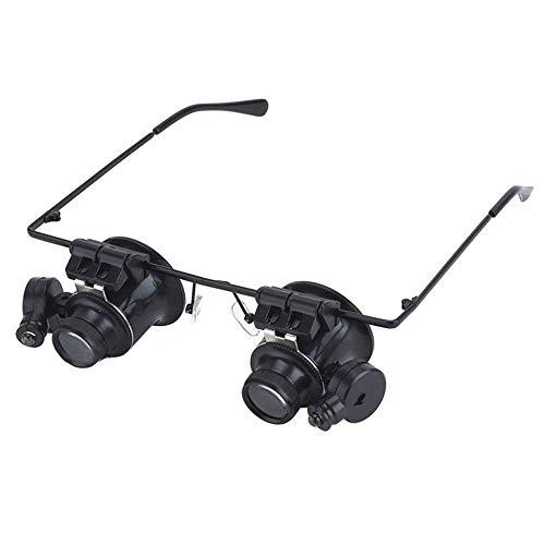 GYW-YW Lupa Diadema Gafas Lupa con luz LED 20X Lupa for relojero joyería Lente del Vidrio óptico Lupa de la Lupa (Color : Black, Magnification : 20X)