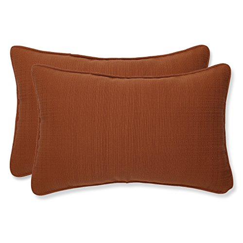 Pillow Perfect Outdoor/Indoor Cinnabar Lumbar Pillows, 11.5' x 18.5', Burnt Orange, 2 Pack
