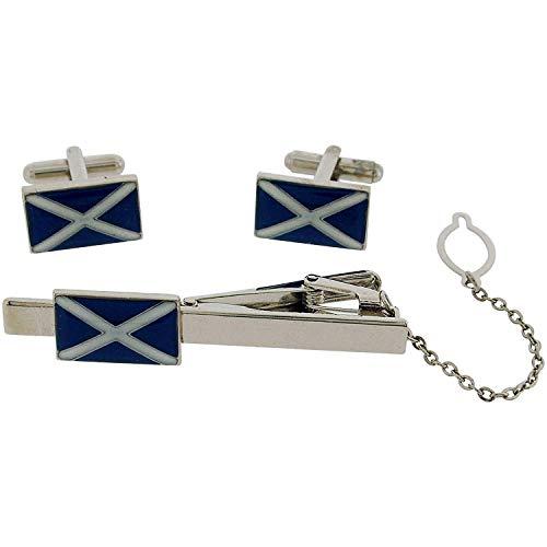 BOXX Gents Silvertone Metal Scottish Tie Slide & Cufflink Gift Set