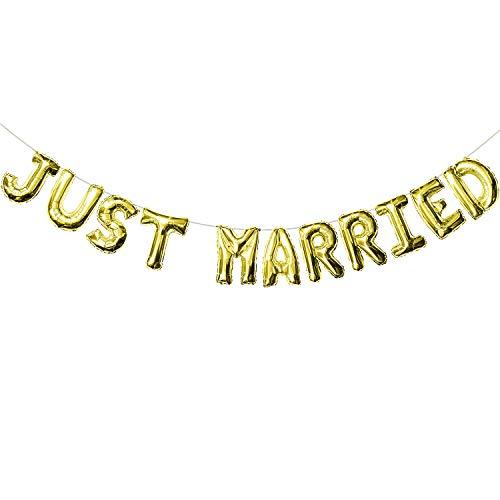 Oblique Unique® Just Married Folien Luftballon Girlande Banner in Gold für Hochzeit Hochzeitsfeier Hochzeitsdeko Feier Deko Dekoration