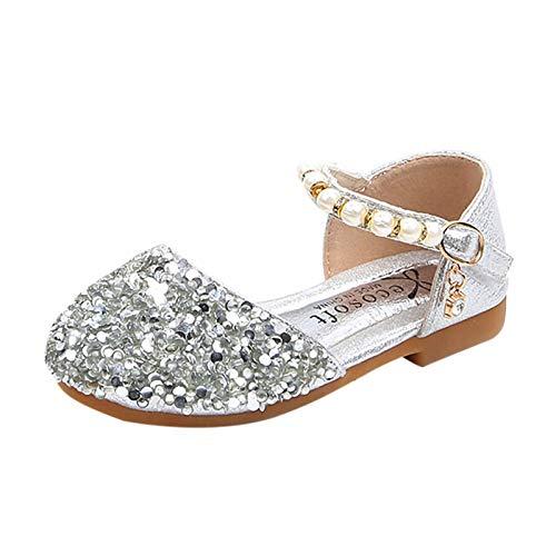 JINSUO Mädchen-Schuhe für Kleinkinder, Kleinkinder, Kinder, Mädchen, mit Perlen und Pailletten, Prinzessinnen-Schuhe (Farbe: Silber, Schuhgröße: 22)